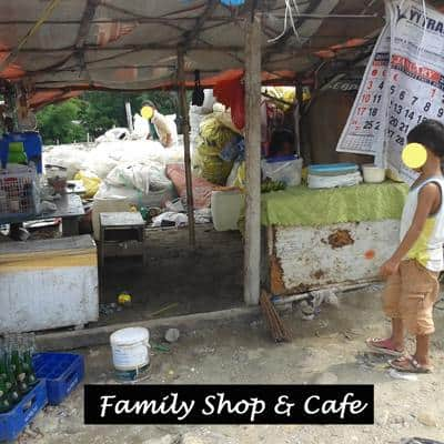 A family shop and cafe catering for the workers on the garbage dump.