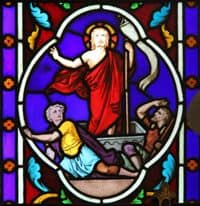 Stained Glass Window depiction of Jesus' resurrection.