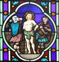 Stained Glass Window depiction of Jesus' Scourging.