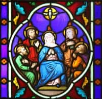 Stained Glass Window depiction of the Descent of the Holy Spirit on the Apostles.