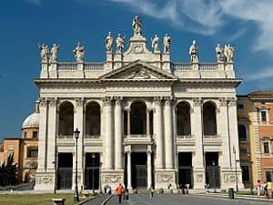 Photograph of the front of St John Lateran Basilica, Rome.