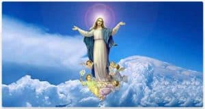 Image of Mary being raised into the clouds
