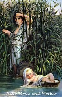 Baby Moses and his mother