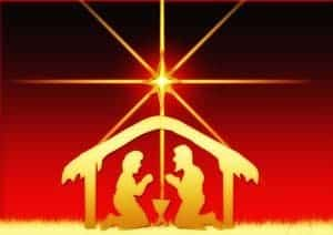 Red and gold picture-card of crib