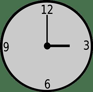 Clock: 3 o' clock