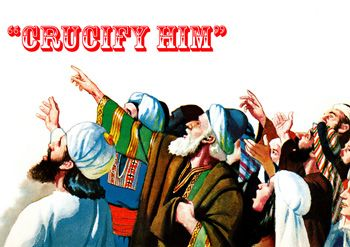 "Sketch of crowd shouting ""Crucify Him"""