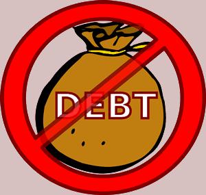 "Sign: No entry ""Debt"""