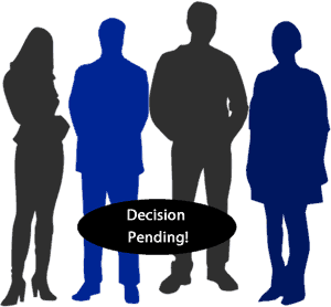"Silhouette of a group of people with quote ""Decision Pending"""