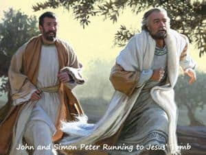 Disciples running to see Jesus' empty tomb