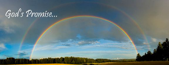 "Double rainbow with message, ""God's promise""."