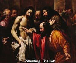 Doubting Thomas examining Jesus' pierced side