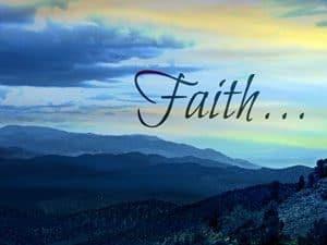 """Word """"Faith"""" set against blue skyline"""