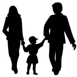 Silhouette of parents and child
