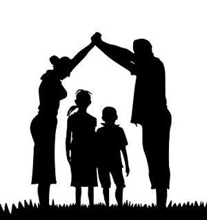 Silhouette of parents and two children
