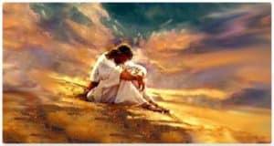 Jesu on hillside in prayer