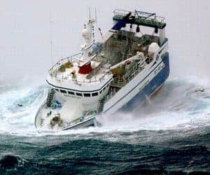 Fishing Boat In Sea Storm