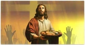 Jesus with basket of bread and fish