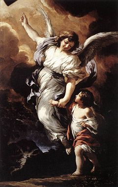 Image of Guardian Angel accompanying a children.