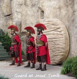Roman soldiers guarding Jesus' sealed tomb