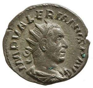 Portrait of Emperor Valerian on Roman Coin