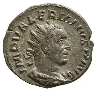 Portrait of Emperor Valerian on Roman Coin