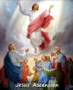 Jesus ascends above the heads of the Apostles