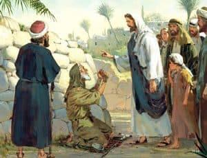 Sketch showing Jesus healing
