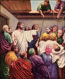 Sketch of Paralytic being lowered into home