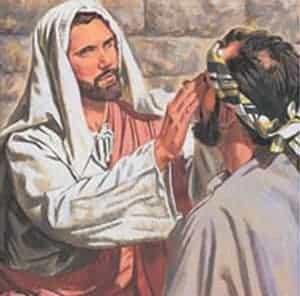 Jesus pastes blind man's eyes