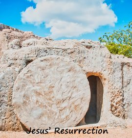Jesus' tomb with stone partially rolled aside