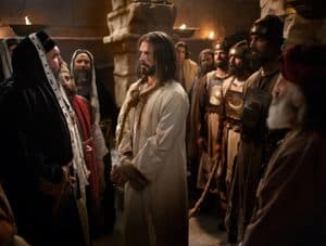 Jesus at His trial before Caiaphas