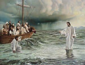 Sketch of Jesus walking on water towards Apostles boat