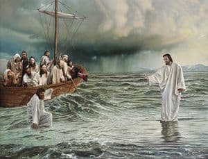 Sketch of Jesus walking on water towards Apostles boat