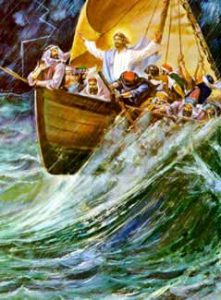 Apostles in boat on stormy sea
