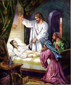 Jesus at Jairus' daughters bedside