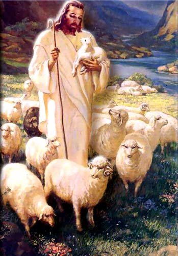 Sketch of Jesus carrying a lamb and surrounded by sheep