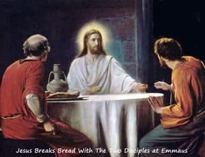 Jesus sitting with the two disciples he joined on the road to Emmaus
