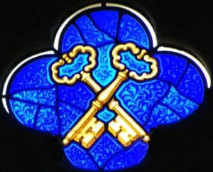 Stain-glass image of two keys