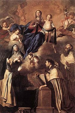 Image of St Simon Stock (standing) and other Carmelite Saints gazing upwards towards Our Lady of Mount Carmel.