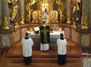 Image from scene in Latin Mass