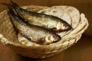 Small basket of fish and bread