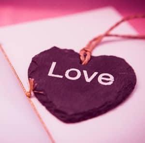 Purple Heart with inscription LOVE