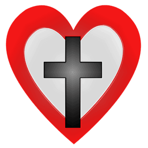 Red Heart with Black Cross inside