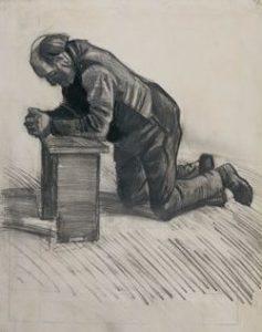 Sketch of man kneeling in prayer