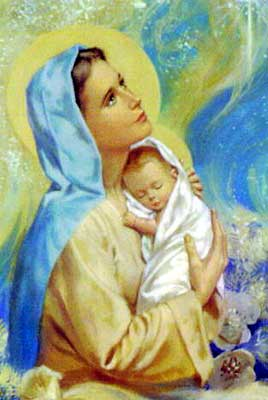 Mary holding the baby Jesus