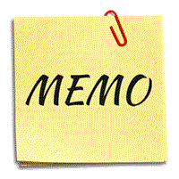 "Post It note with the word ""Memo""."