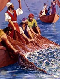 Image of Apostles hauling fish on board boat