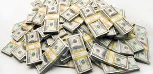 Bundles of dollar bills