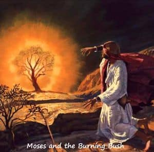 Moses kneeling at the burning bush