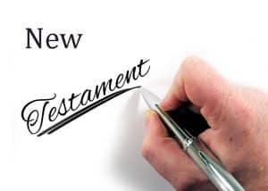 Person writing: New Testament
